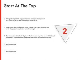 Start At The Top Change Ppt Powerpoint Presentation Professional Clipart Images