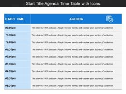 Start Title Agenda Time Table With Icons