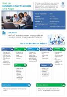 Start Up Business Canvas Model One Pager Presentation Report Infographic PPT PDF Document