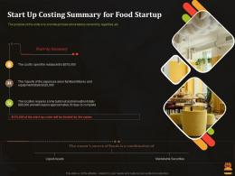 Start Up Costing Summary For Food Startup Business Pitch Deck For Food Start Up Ppt Summary