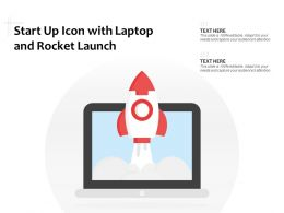 Start Up Icon With Laptop And Rocket Launch