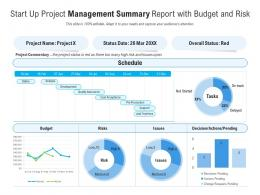 Start Up Project Management Summary Report With Budget And Risk