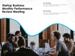 Startup Business Monthly Performance Review Meeting
