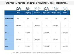 Startup Channel Matrix Showing Cost Targeting Control And Scale