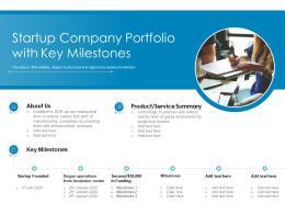 Startup Company Portfolio With Key Milestones