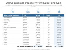 Startup Expenses Breakdown With Budget And Type
