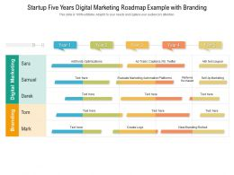 Startup Five Years Digital Marketing Roadmap Example With Branding