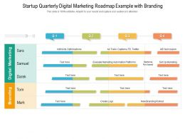 Startup Quarterly Digital Marketing Roadmap Example With Branding