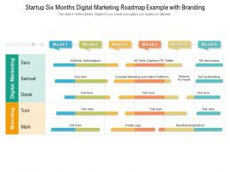 Startup Six Months Digital Marketing Roadmap Example With Branding