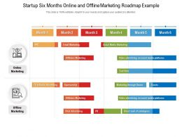 Startup Six Months Online And Offline Marketing Roadmap Example