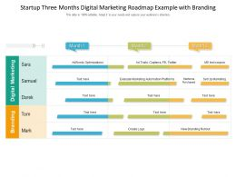 Startup Three Months Digital Marketing Roadmap Example With Branding