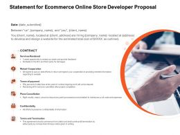 Statement For Ecommerce Online Store Developer Proposal Ppt Powerpoint Presentation Styles Graphic Images