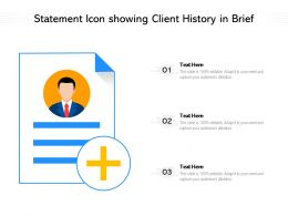 Statement Icon Showing Client History In Brief