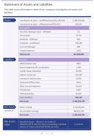 Statement Of Assets And Liabilities Presentation Report Infographic PPT PDF Document