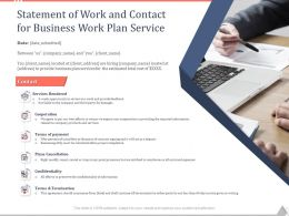 Statement Of Work And Contact For Business Work Plan Service Ppt Powerpoint Tips