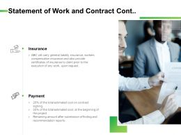 Statement Of Work And Contract Cont Ppt Powerpoint Outline