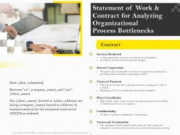 Statement Of Work And Contract For Analyzing Organizational Process Bottlenecks Ppt Outline