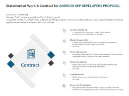 Statement Of Work And Contract For Android App Developers Proposal Ppt Show