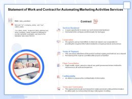 Statement Of Work And Contract For Automating Marketing Activities Services Ppt Topics