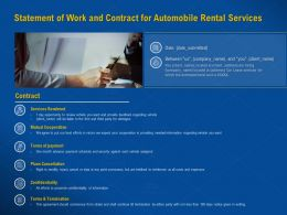 Statement Of Work And Contract For Automobile Rental Services Plans Cancellation Ppt Visual Aids