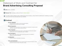 Statement Of Work And Contract For Brand Advertising Consulting Proposal Ppt Tips