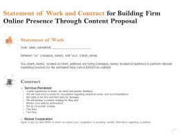 Statement Of Work And Contract For Building Firm Online Presence Through Content Proposal Ppt Idea