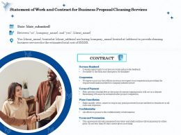 Statement Of Work And Contract For Business Proposal Cleaning Services Ppt File Slides