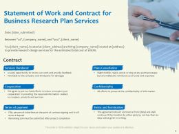 Statement Of Work And Contract For Business Research Plan Services Confidentiality Information Ppt Slides