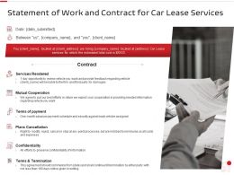 Statement Of Work And Contract For Car Lease Services Ppt Powerpoint Presentation Gallery
