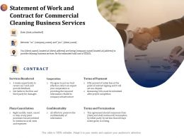 Statement Of Work And Contract For Commercial Cleaning Business Services Ppt Icon