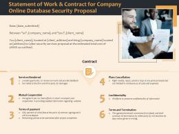 Statement Of Work And Contract For Company Online Database Security Proposal Ppt File Aids