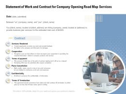 Statement Of Work And Contract For Company Opening Road Map Services Ppt Icon