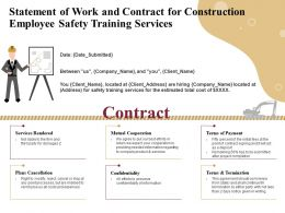 Statement Of Work And Contract For Construction Employee Safety Training Services Ppt Ideas