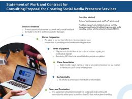Statement Of Work And Contract For Consulting Proposal For Creating Social Media Presence Services Ppt File Slides