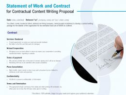 Statement Of Work And Contract For Contractual Content Writing Proposal Ppt Powerpoint Presentation Outline Ideas