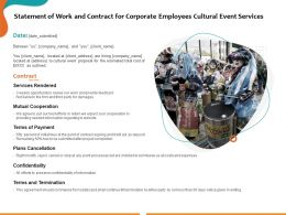 Statement Of Work And Contract For Corporate Employees Cultural Event Services Ppt Deck Slides