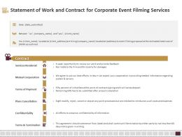 Statement Of Work And Contract For Corporate Event Filming Services Ppt Slides