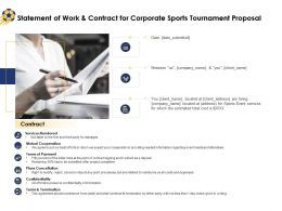 Statement Of Work And Contract For Corporate Sports Tournament Proposal Ppt Inspiration