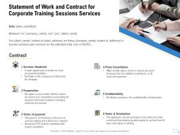 Statement Of Work And Contract For Corporate Training Sessions Services Ppt Clipart