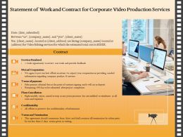 Statement Of Work And Contract For Corporate Video Production Services Ppt Icon