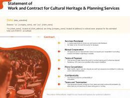 Statement Of Work And Contract For Cultural Heritage And Planning Services Ppt Clipart