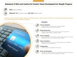Statement Of Work And Contract For Custom Theme Development For Shopify Proposal Ppt Visual