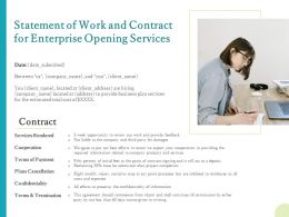 Statement Of Work And Contract For Enterprise Opening Services Ppt Summary