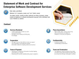 Statement Of Work And Contract For Enterprise Software Development Services Plans Cancellation Ppt Samples