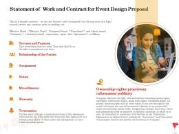 Statement Of Work And Contract For Event Design Proposal Ppt Powerpoint Presentation