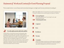 Statement Of Work And Contract For Event Planning Proposal Ppt Powerpoint Outline