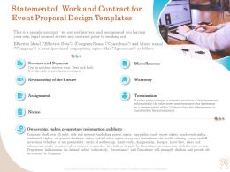Statement Of Work And Contract For Event Proposal Design Templates Ppt Templates
