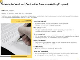 Statement Of Work And Contract For Freelance Writing Proposal Ppt Powerpoint Presentation Pictures Gridlines