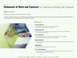 Statement Of Work And Contract For Freelancer Writing Job Proposal Ppt Slides