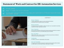 Statement Of Work And Contract For HR Automation Services Ppt Powerpoint Presentation Ideas Designs